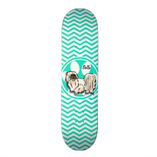 Shih Tzu; Aqua Green Chevron 18.1 Cm Old School Skateboard Deck