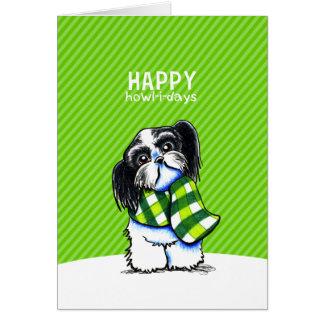 Shih Tzu B/W Christmas Snow Happy Howl-i-days Card