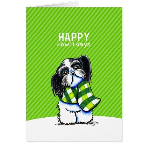 Shih Tzu B/W Christmas Snow Happy Howl-i-days Greeting Cards