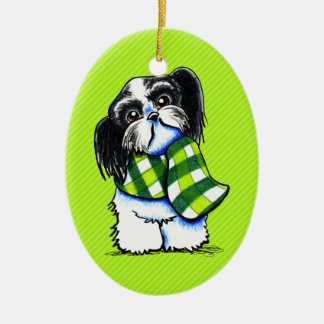 Shih Tzu B/w Happy Winter Scarf Christmas Ornament