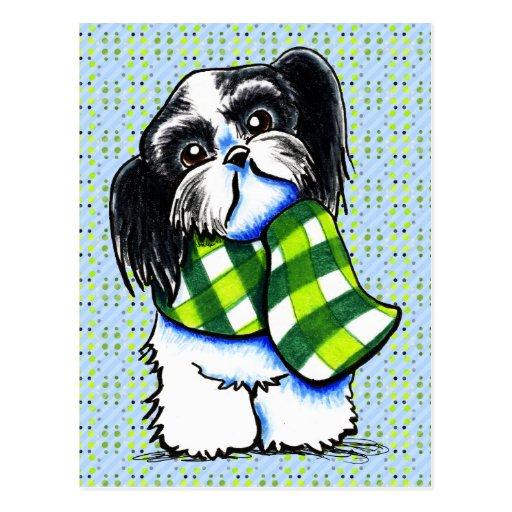 Shih Tzu B/w Happy Winter Scarf Post Cards