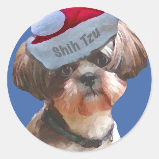 """Shih Tzu """"Betsy"""" Christmas Round Sticker"""