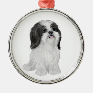 Shih Tzu - black and white (by JF) Christmas Ornament