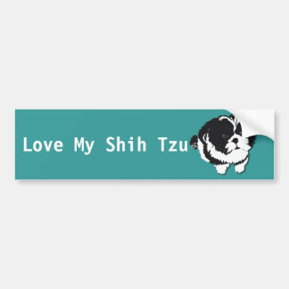 Shih Tzu Black White Dog Pet Bumper Sticker