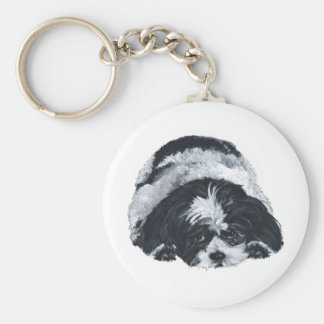 Shih Tzu Black & White Key Ring