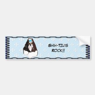 Shih-Tzu - Blue w/ White Diamond Design Bumper Sticker