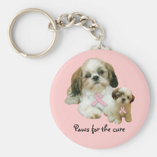 Shih Tzu Breast Cancer Keychain