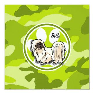 Shih Tzu; bright green camo, camouflage Invites