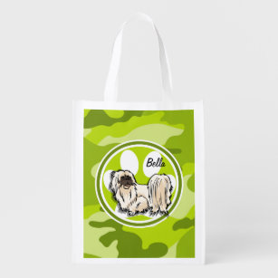 Shih Tzu; bright green camo, camouflage Reusable Grocery Bag
