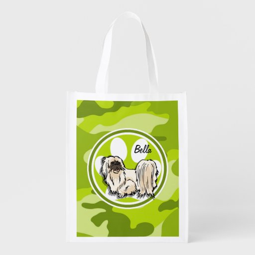 Shih Tzu; bright green camo, camouflage Grocery Bags