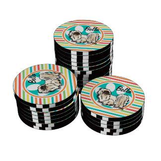 Shih Tzu; Bright Rainbow Stripes Poker Chips Set
