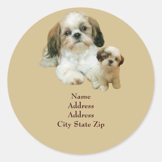Shih Tzu Buddies Address Label Round Sticker