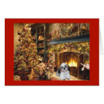 Shih Tzu Christmas Card Fireplace1