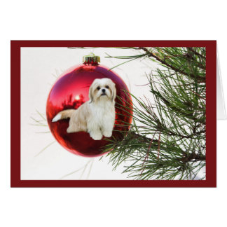 Shih Tzu Christmas Card Ornament