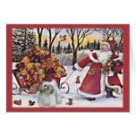 Shih Tzu Christmas Card Santa Bears In Sleigh