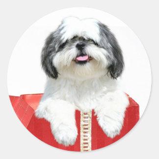 Shih Tzu Christmas gift Classic Round Sticker