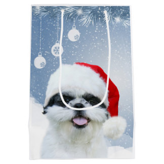 Shih Tzu Christmas Medium Gift Bag