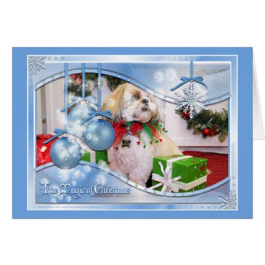 Shih Tzu Christmas Photocard Card