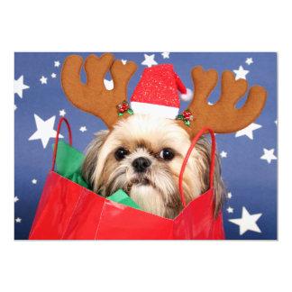 Shih Tzu dog in a red shopping bag 13 Cm X 18 Cm Invitation Card