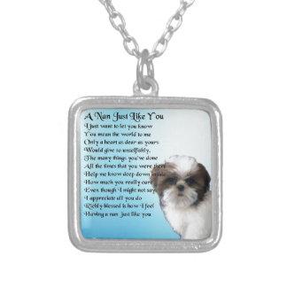 Shih Tzu Dog - Nan Poem Silver Plated Necklace