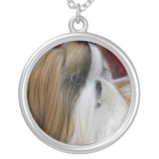 Shih Tzu Dog Round Pendant Necklace