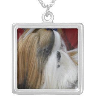 Shih Tzu Dog Square Pendant Necklace