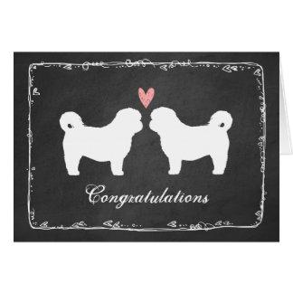 Shih Tzu Dog Silhouettes Wedding Congratulations Greeting Card