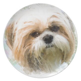 Shih Tzu Dog Water Color Art Painting Plate