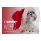 Shih Tzu dog wearing a Santa Claus hat Card