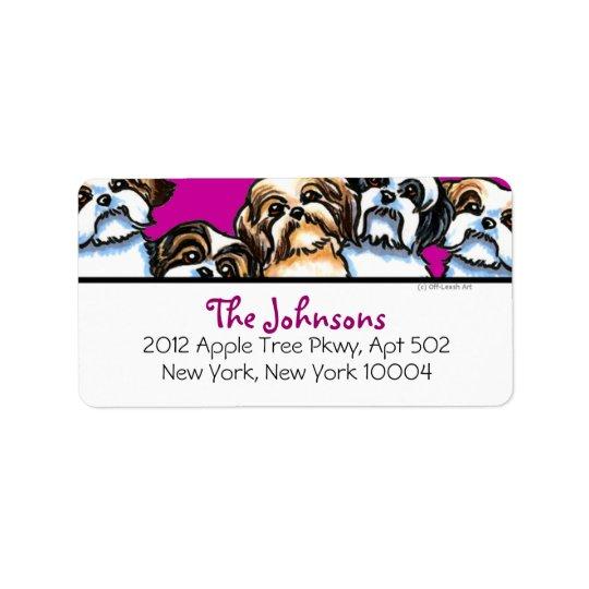 Shih Tzu Dogs Girly Font Custom Colour Address Label