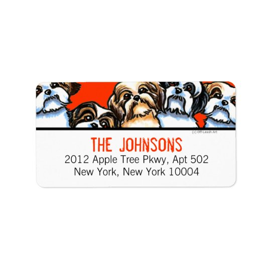 Shih Tzu Dogs Trendy Font Custom Colour Label