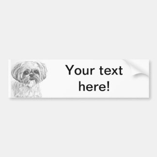 Shih Tzu Drawing Bumper Sticker