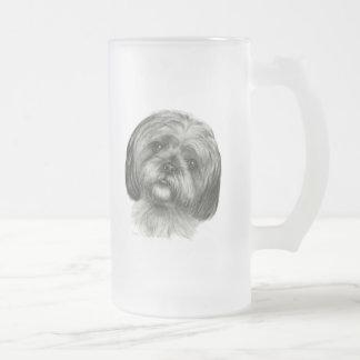 Shih Tzu Frosted Glass Beer Mug