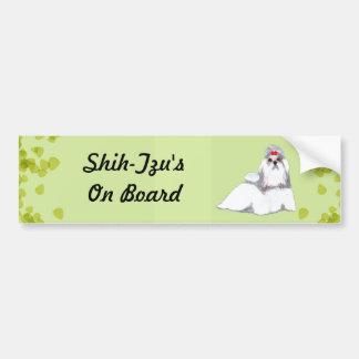Shih Tzu ~ Green Leaves Design Bumper Stickers