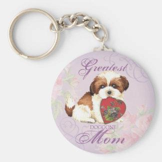 Shih Tzu Heart Mom Basic Round Button Key Ring