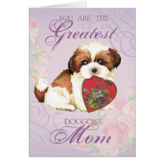 Shih Tzu Heart Mom Card