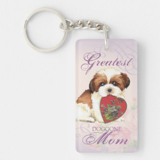 Shih Tzu Heart Mom Key Ring