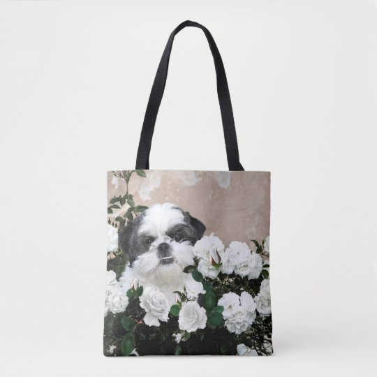 Shih Tzu in roses Tote Bag
