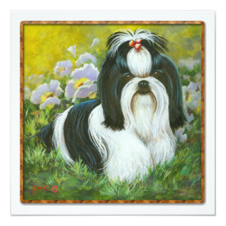 Shih Tzu in the Garden Invitation Card