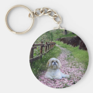 Shih Tzu Keychain Purple Flowers
