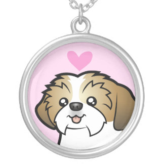 Shih Tzu Love (puppy cut) Silver Plated Necklace