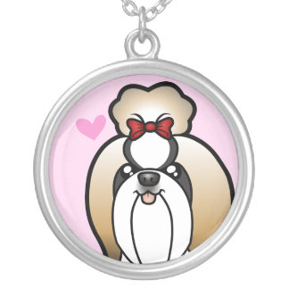 Shih Tzu Love (show cut) Silver Plated Necklace