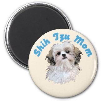 Shih Tzu Mom 6 Cm Round Magnet