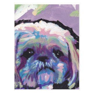 shih tzu pop dog art postcard
