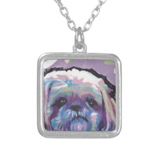 shih tzu pop dog art silver plated necklace