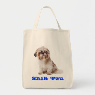 Shih Tzu Puppy Dog Canvas Grocery Tote Bag