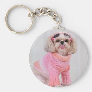 Shih Tzu Puppy - The Razz Basic Round Button Key Ring