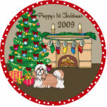 Shih Tzu Puppy's First Christmas Ornament 2009 Acrylic Cut Out