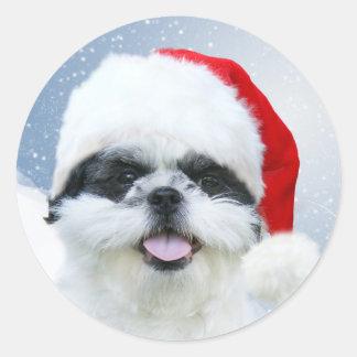 Shih Tzu Santa Classic Round Sticker