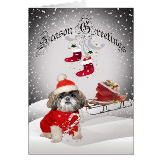 Shih Tzu Santa Snow Scene greeting cards